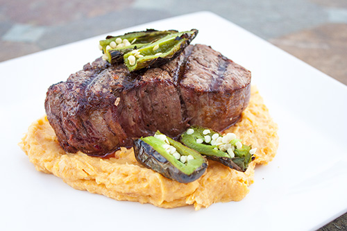 Grilled Filet Mignon Over Goat Cheese-Sweet Potato Puree
